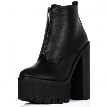 Buy BANDIT Chunky Cleated Sole Zip Platform Ankle Boots Black Leather Style Online