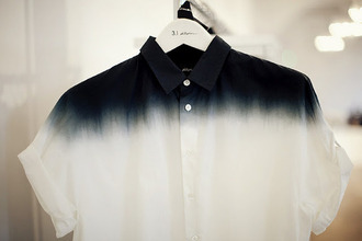 shirt collared shirt dye tie dye dip dye dyed cute top shirts dark blue blue black black and white white button button up button up shirt buttons cool nice collared dress collared shirts rolled sleeves short sleeve long sleeves