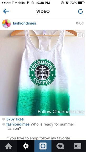 tank top teal starbucks tank top, t-shirt, starbucks