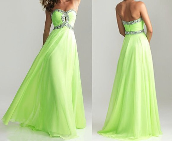 dress lime green sparkles prom dress maxi dress strapless sweetheart dresses