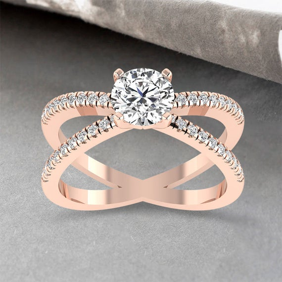 Solitaire Rose Gold Engagement Ring, Antique Diamond Engagement Ring