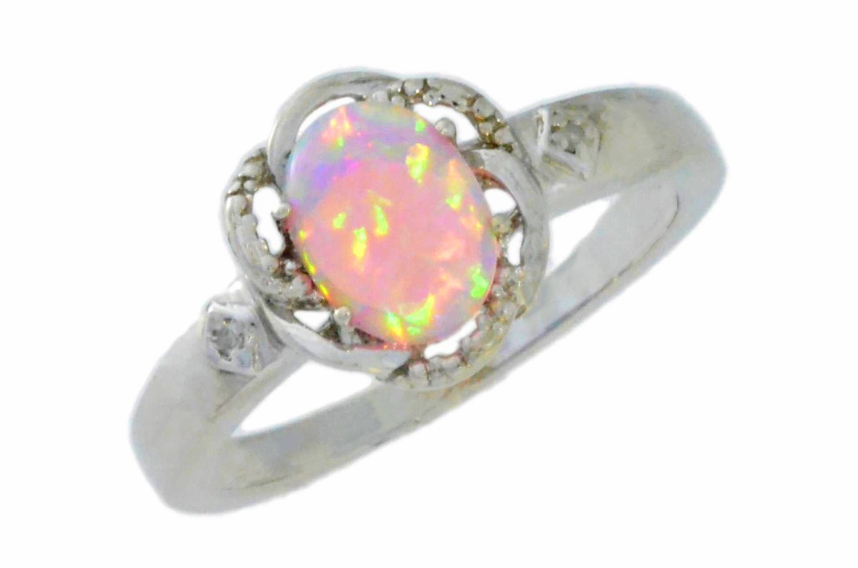 Amazon.com: 8x6mm pink opal & diamond oval ring .925 sterling silver rhodium finish: jewelry