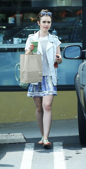 skirt vest jacket lily collins sandals summer outfits shoes
