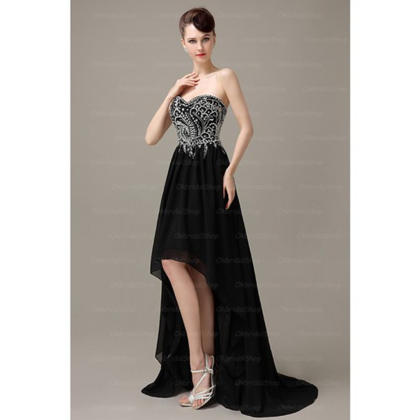 dress black prom dress chiffon prom dress high low