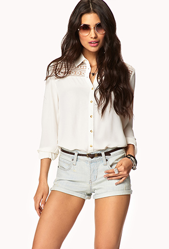 Everyday Denim Shorts w/ Belt | FOREVER 21 - 2040900369