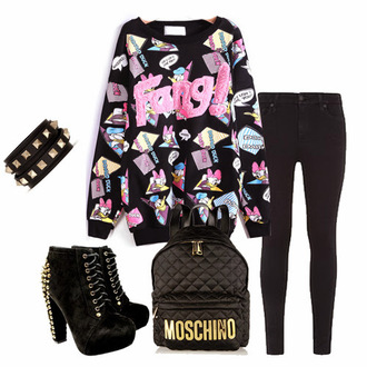 sweater colorful sheinside harajuku moschino boots black boots black ankle boots bag cute daisy