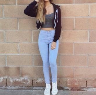 jeans light jeans blue jeans jacket black jacket black black zip up zip up zip up hoodie shoes white white shoes