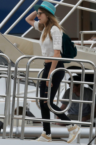 jeans hat top ripped jeans cara delevingne cannes
