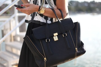 leather black bag gold zip bag