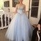 Sweetheart neck light blue tulle sequin long prom gown, evening dress - 24prom