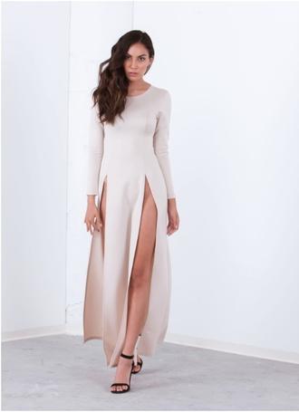 beige dress beige dress maxi dress maxi slit dress