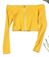 blouse,girly,yellow,crop tops,crop,cropped,long sleeves,off the shoulder,off the shoulder top,zip
