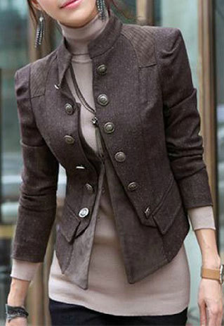 shego shopping mall — [grzxy6600893]Cool Stylish Double Breast Solid Color Jacket Coat
