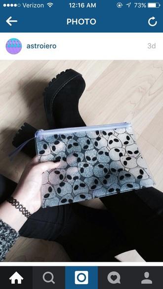 bag alien grunge transparent  bag boots pastel goth goth transparent pouch pencil case
