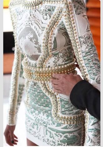 dress long sleeved dress short dress party dress short party dress embroidered dress turquoise white dress gold balmain