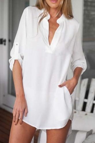 dress girl girly girly wishlist white white dress mini dress v neck v neck dress t- shirt dress