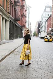 shoes,tumblr,damsel in dior,blogger,kitten heels,black heels,mid heel pumps,skirt,midi skirt,yellow skirt,top,black top,bag,nude bag,spring outfits,sunglasses,black sunglasses