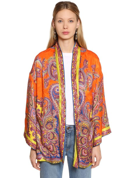 ETRO Paisley Printed Silk Jacquard Jacket in orange