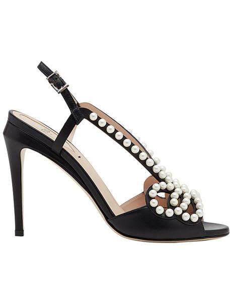 Fendi embellished sandals women pearl embellished abs sandals leather black shoes
