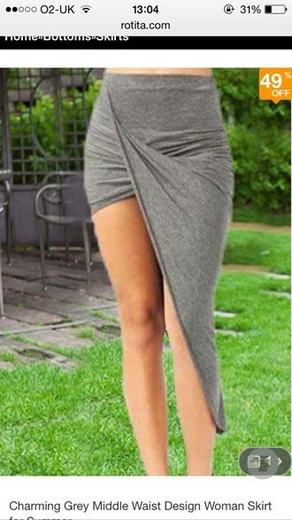 skirt grey skirt midi skirt asymmetrical skirt bodycon skirt red lime sunday