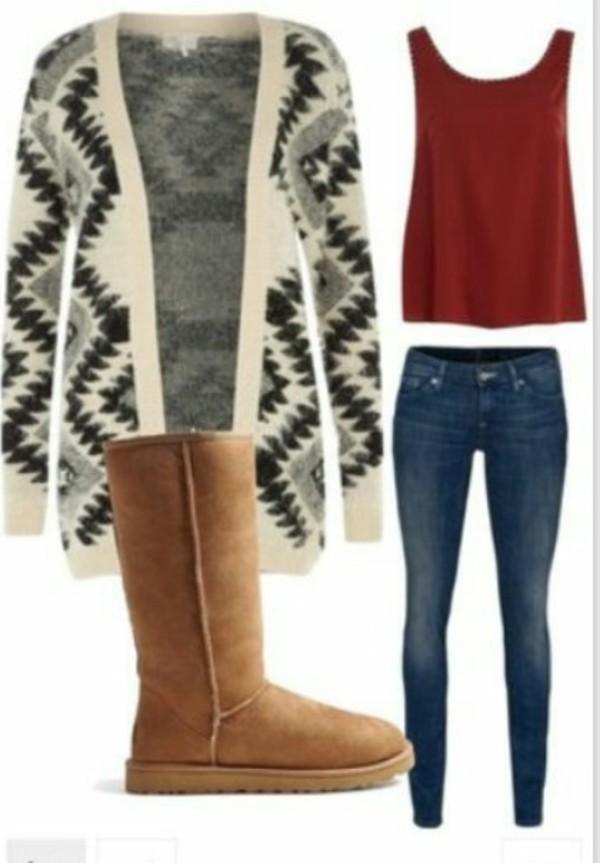 cardigan tribal pattern grey cozy sweater jacket