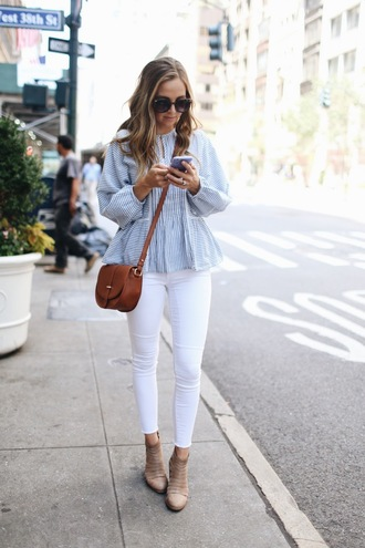 merrick's art // style + sewing for the everyday girl blogger top jeans shoes bag sunglasses blouse striped top peplum top peplum brown bag crossbody bag white jeans skinny jeans boots beige camel boots nude boots spring outfits long sleeves