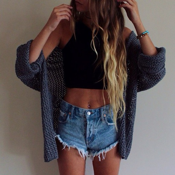 cardigan shorts High waisted shorts style fashion top brandy melville denim shorts lovely want want want shopping knitted cardigan high waisted high waist shorts high waisted blue shorts