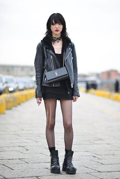 Bag: dress, black dress, edgy, grunge, boots, streetstyle, fashion ...