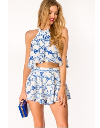 top blue and white something hot