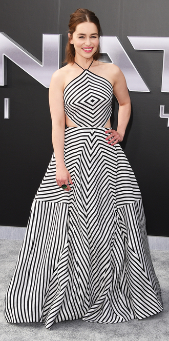 dress gown geometric emilia clarke black and white dress cut-out dress optical