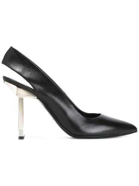 women statement pumps leather black shoes