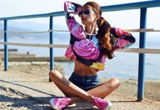 pink sweater jeans shots pink shoes shoes sunglasses cupcake sweater jumper top colorful harajuku cute love tumblr yummy food print rainbow swag fashion casual