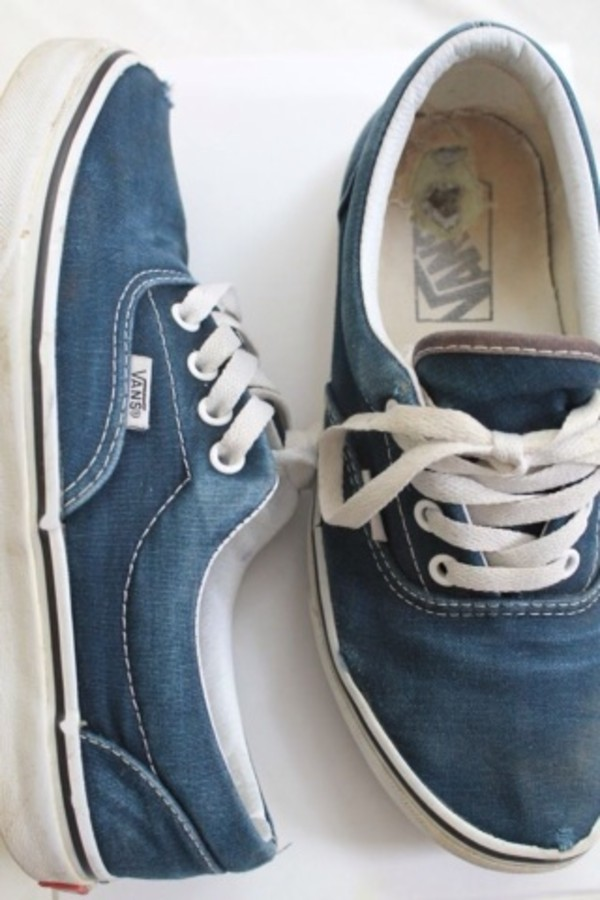 shoes vans denim blue vintage