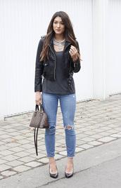 seekingsunshine,blogger,jewels,jacket,t-shirt,jeans,shoes,perfecto,black leather jacket,handbag,louis vuitton bag,high heel pumps,grey top,necklace