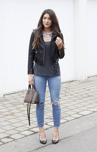 seekingsunshine blogger jewels jacket t-shirt jeans shoes perfecto black leather jacket handbag louis vuitton bag high heel pumps grey top necklace