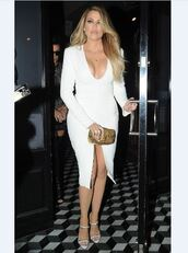 dress,white,bodycon,plunge v neck,slit dress,khloe kardashian,sandals,shoes,mules,clutch