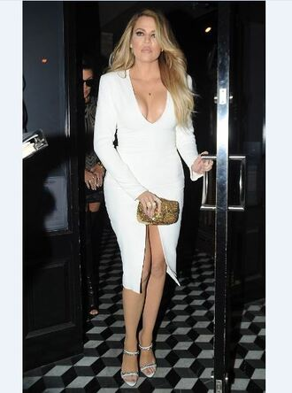 dress white bodycon plunge v neck slit dress khloe kardashian sandals shoes mules clutch