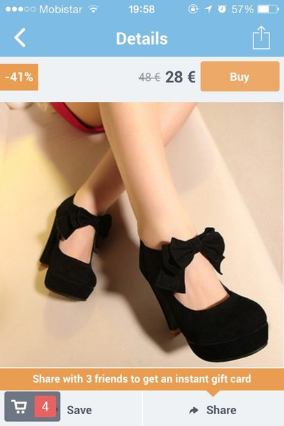 shoes black heel with bow
