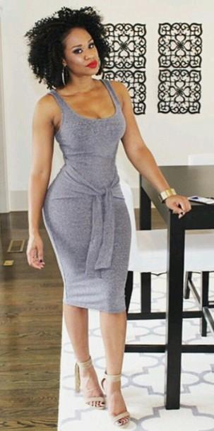 65f652962b3e dress midi dress grey dress summer dress black girls killin it baddies sexy  dress i woke