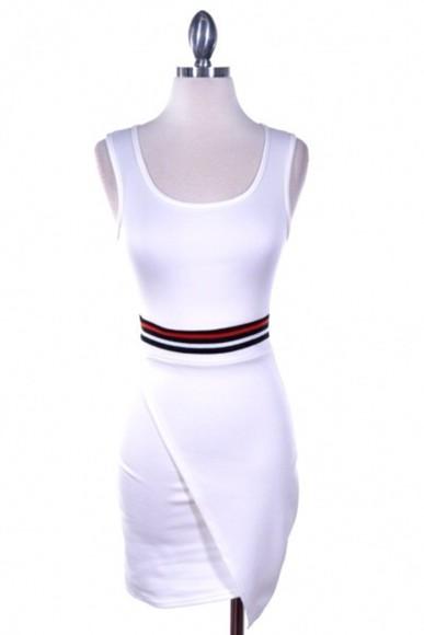 dress fashion white dress assymetric