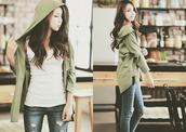jacket,green,shrug,long sleeves