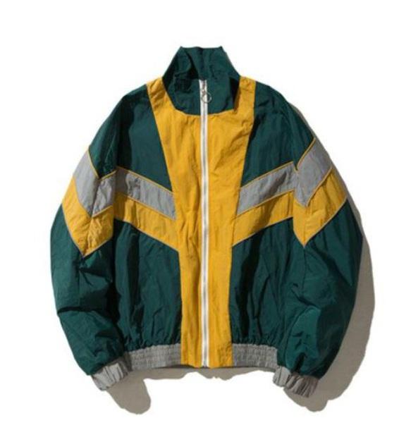 jacket windbreaker vintage vintage jumper 90s windbreaker grey green yellow