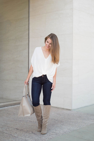a lonestar state of southern blogger shoes bag jeans jewels white top knee high boots nude bag skinny jeans white blouse dark blue