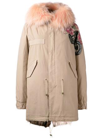 parka women leather nude cotton print roses coat