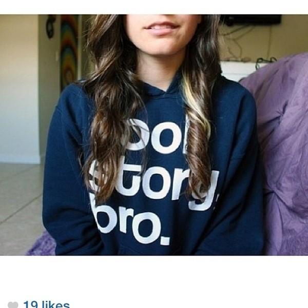 shirt blue sweater cool story bro cool story bro crewneck cute tumblr tumblr girl