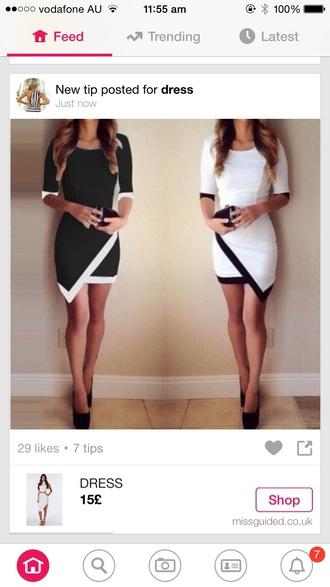 dress black white short mini lined knee length long sleeves cross over white lined long sleeve dress