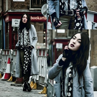 alessandra kamaile blogger long coat embellished winter coat coat shirt blouse jeans
