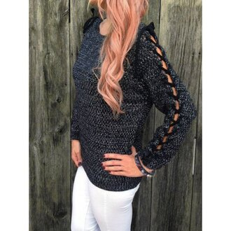 sweater black fashion style fall outfits warm cozy grey criss cross knitwear winter outfits pullover rose wholesale-jan lace up jumper