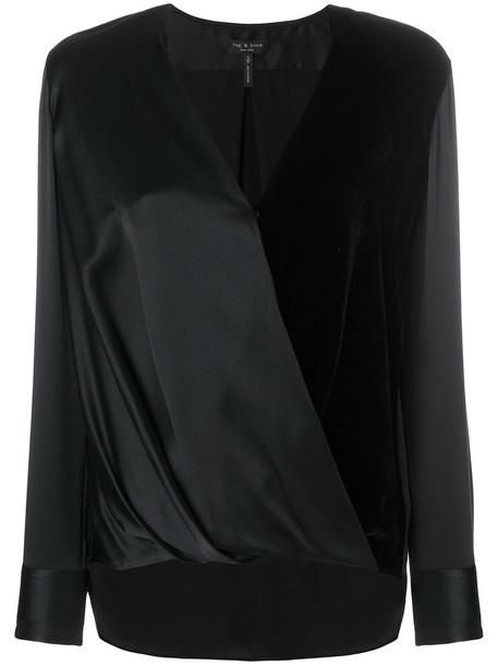 Rag & Bone blouse women black silk top