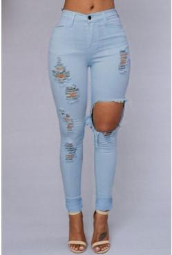High Waist Destroyed Jeans
